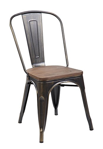 Tolix Style Metal Bar Stools Stackable Home Bistro Dining Bar Chairs with Handmade Wooden Seat and Backrest, Set of 4 Antique Golden Brushing