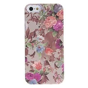 Procesamiento de dos días -Flores de colores y estuche rígido de socorro patrón de mariposa para el iphone 5/5s