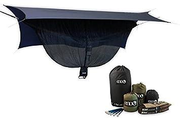 Eagles Nest Outfitters ENO OneLink DoubleNest Hammock Profly Bugnet Straps Khaki