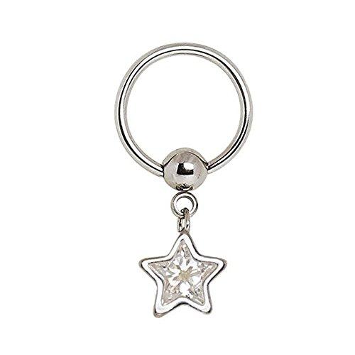 316L Stainless Steel Captive CZ Star Dangle Captive Bead Ring WildKlass Nipple Jewelry