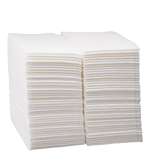 Luxury Linen Feel Disposable Guest Hand Towels Soft & Absorbent Cloth Like Airlaid Paper Napkin for Bathroom, Kitchen, Weddings, Parties, Dinners or Events, White 100 Count by eDayDeal (100) - Guest Towels 100 Napkins