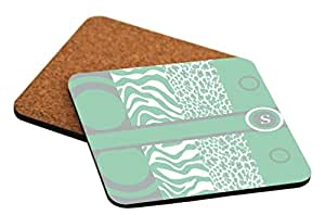 """Rikki Knight """"S"""" Initial Mint Green - Leopard Zebra Design Cork Backed Hard Square Beer Coasters, 4-Inch, Brown, 2-Pack"""