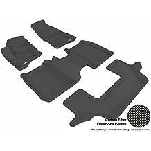3D MAXpider Complete Set Custom Fit All-Weather Floor Mat for Select Ford Flex Models - Kagu Rubber (Black)