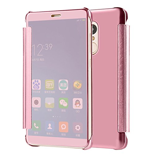 Price comparison product image Phone Case Hunzed Mirror Flip Leather Case Cover Protect Phone Case Cover For Xiaomi Redmi Note 4X (Rose Gold)