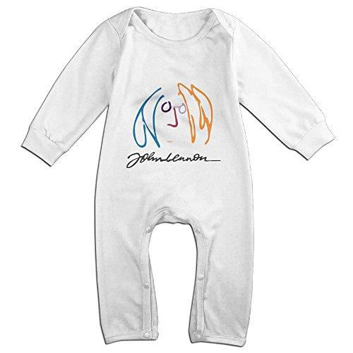 Lennon John White Costumes Suit (NCACA Newborn Babys Boy's & Girl's John Lennon Music Imagine Long Sleeve Bodysuit Baby Onesie For 6-24 Months White Size 12)