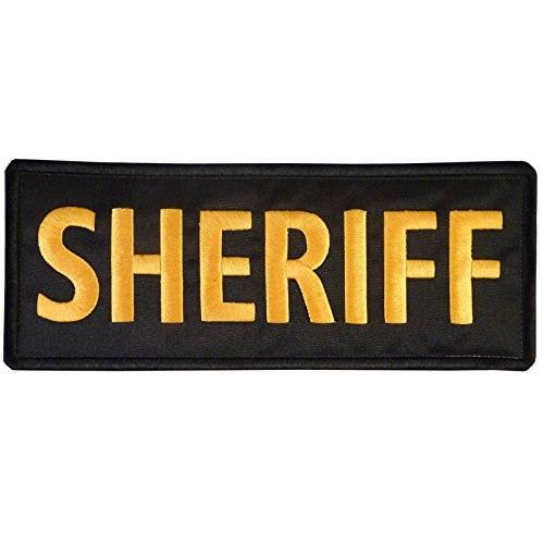 SHERIFF Large XL 10x4 inch Vest Tactical Embroidered Nylon Velcro Patch