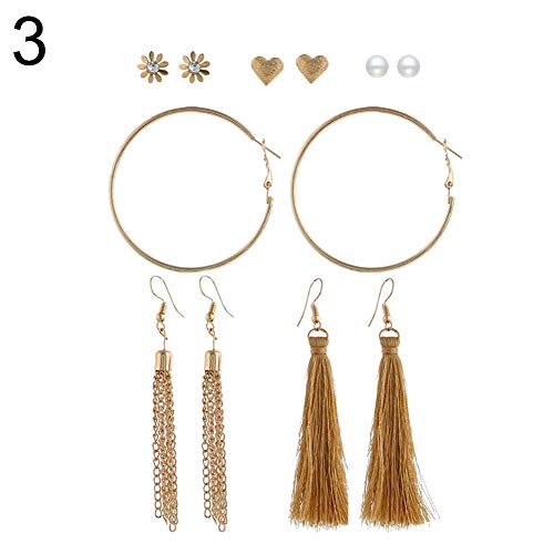 soAR9opeoF ♠ 6 Pairs Long Tassel Drop Faux Pearl,Women Party wedding Rhinestone Hook Stud Hoop Earring Set 3# ()