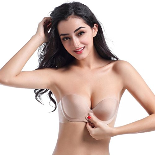 Instant Bra,Lamolory Strapless Pushup Bra Self Adhesive Invisible Backless Sticky Bras (Khaki, A)