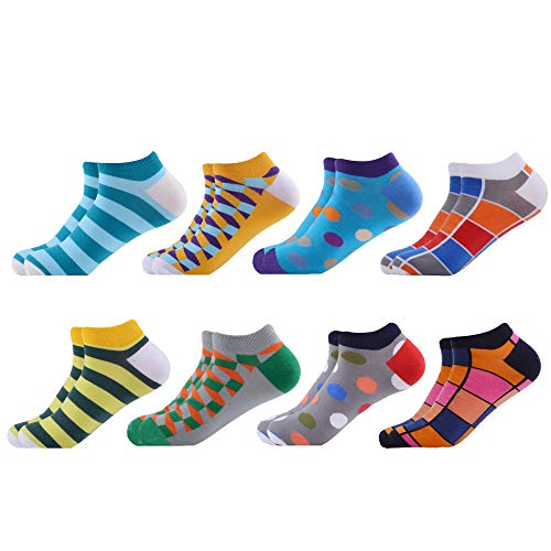 WeciBor Men's Dress Cool Colorful Fancy Novelty Funny Casual Combed Cotton Ankle Socks Pack (B058-39)