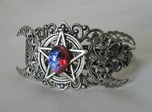 Dragons Breath Fire Opal Triple Moon Pentacle Cuff Bracelet, handmade jewelry wiccan pagan wicca goddess witch witchcraft pentagram ()