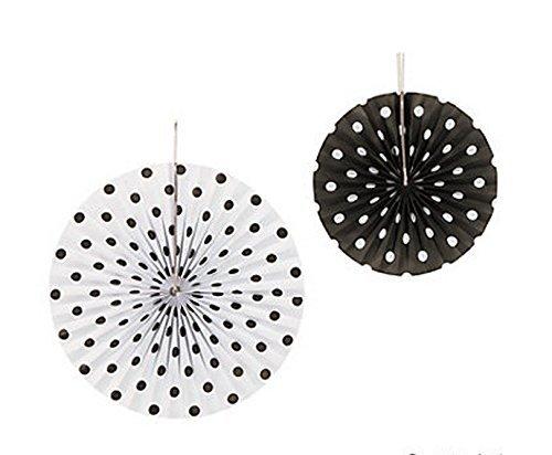 Set of 6 Black and White Polka Dot Hanging Fans