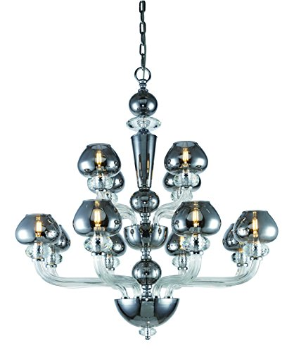 (7874 Prescott Collection Chandelier D:33 H:35 Lt:12 Silver Shade Finish)