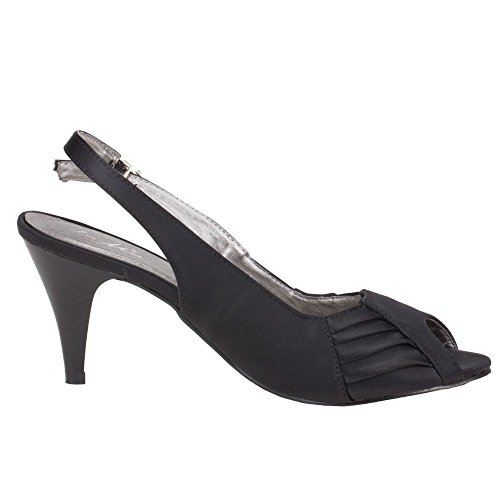 Ital-Design - Sandalias de vestir de Satén para mujer Negro - negro