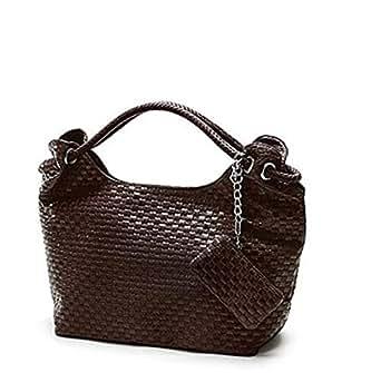 Woven style design,High grade PU leather handbag for ladies