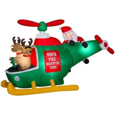 Amazon.com: Gemmy - Helicóptero inflable con Papá Noel y 2 ...