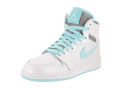Nike AIR JORDAN 1 RETRO HIGH GG Girls basketball-shoes 332148-106_9.5Y - WHITE/WHITE-STILL BLUE by Jordan