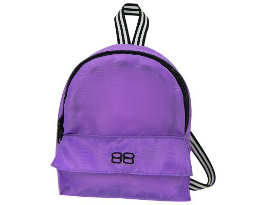 18 Inch Doll Backpack, Doll Size for Plush Animals or 18 Inch Doll Accessories and American Girl Dolls in Purple Nylon, Zippered Opening and Pocket in Purple]()