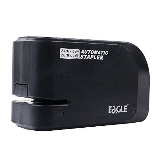 Eagle Electric Stapler-Heavy Duty Automatic Stapler, 20 sheet Capacity, Battery or AC Powered, Black, Holiday Gift