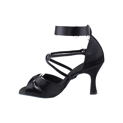 Party Party SERA7002 Comfort High Top Evening Dress Pump, Wedding Shoes: Women Ballroom Dance Shoes High-Medium Heel, Salsa, Tango, Latin, Swing Salsa Tango Swing Latin 7002- Black Satin