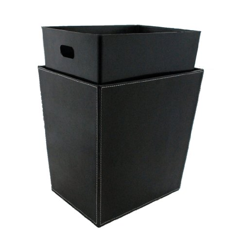 Leather Waste Bin (Kraftware Stitched Waste Basket with Liner - Black)