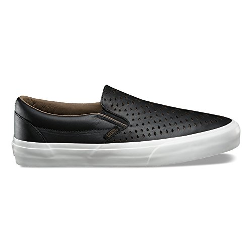 Vans Men Classic Slip-On Dx - Havana Perforated Leather Black Size 10.0 US (Dx Leather)
