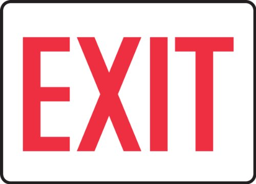 "Accuform MADC531VS Adhesive Vinyl Safety Sign, Legend""EXIT"", 7"" Length x 10"" Width x 0.004"" Thickness, Red on White"