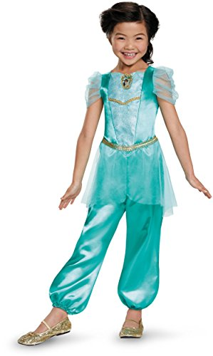 Princess Jasmine Costumes Girls (Jasmine Classic Disney Princess Aladdin Costume, One Color, SMALL/4-6X)