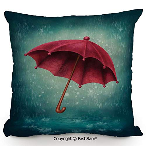 Decorative Throw Pillow Cover Authentic Retro Wooden Handle Under Fall Rainfall Torrent Urban Accessory Image for Pillow Cover for Living Room(16