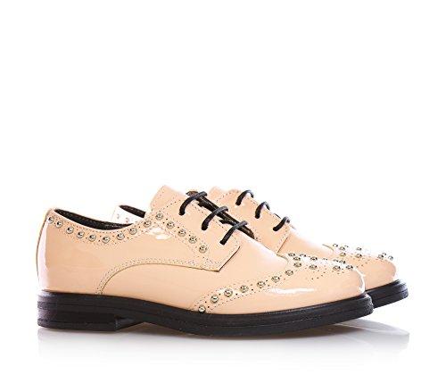 MISS GRANT - Chaussure à l'anglaise à lacets rose en vernis, style élégant et chic, avec réalisation à l'anglaise perforée, application de petits clous décoratifs, Fille, Filles