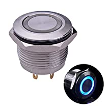 """Ulincos® Momentary Push Button Switch U19D1 1NO SPST Silver Stainless Steel Shell with Blue LED Ring Suitable for 19mm 3/4"""" Mounting Hole Pack with a Resistor"""