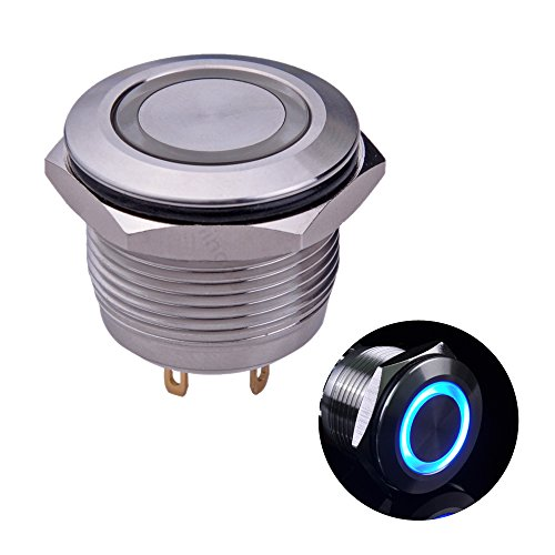 Ulincos Momentary Push Button Switch U19D1 1NO SPST Silver Stainless Steel Shell with Blue LED Ring Suitable for 19mm 3/4