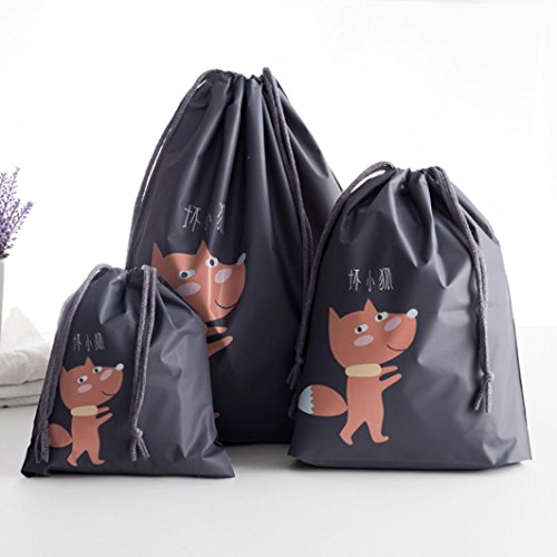 LINGERY 3 Pcs Creative Travel Portable Miscellaneous Storage Bags Cartoon Pattern Practical Waterproof Belt Bags Clothing Storage (Black)