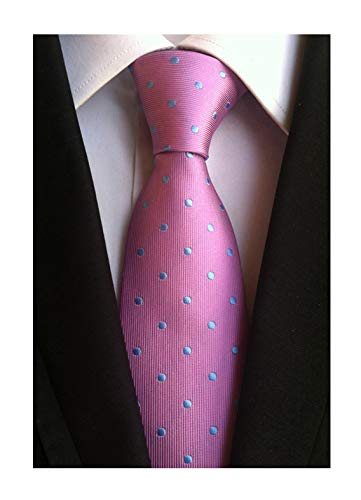 Mens Pink Silk Cravat Woven Elegant Neck Tie with Blue Polka Dot for Father Gift from Elfeves