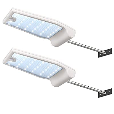 InnoGear Solar Gutter Lights Wall Sconces with Mounting Pole Outdoor Motion Sensor Detector Light Security Lighting for Barn Porch Garage, Pack of 2