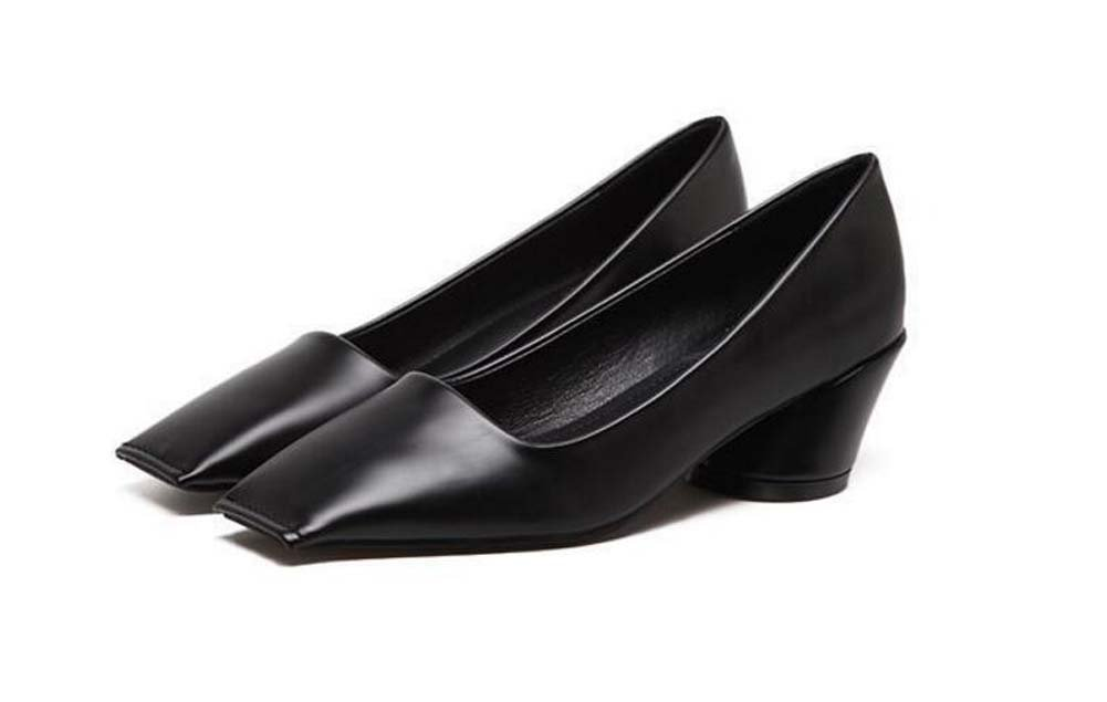 Pumpe 5cm Chunkly Heel Square Toe Mid Heel Sandalen Nude Schuhe Casual Schuhe Frauen Einfache reine Farbe OL Court Schuhe Eu Grouml;szlig;e 35-39  35|Black