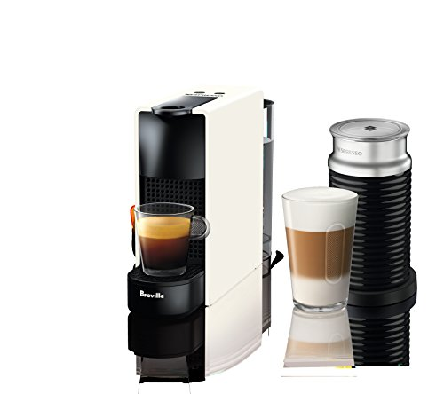 Nespresso Essenza Mini Original Espresso Machine Bundle with Aeroccino Milk Frother by Breville, Pure White