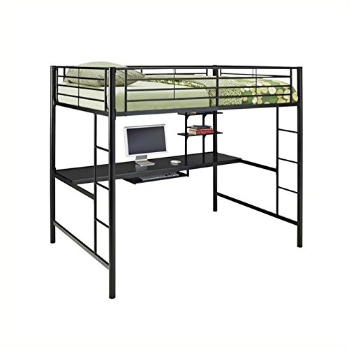 WE Furniture Full Size Metal Loft Bed with Workstation, Back (Saver Desk Length Space)