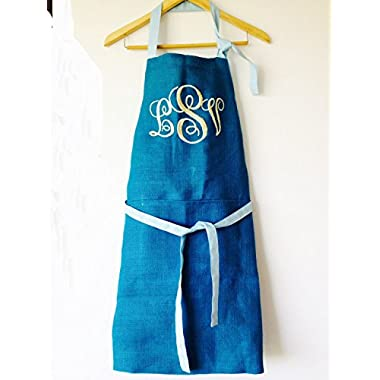 Amore Beaute Handcrafted Blue Burlap Apron With Three Letter Monogrammed Embroidery Personalized Apron Wedding Registry BBQ Registry Anniversary Gift Housewarming Gift