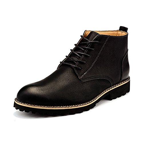 Leder Showet Menns Retro Ankelen Kjole Boot Uformell Formell Snøring Lær Oxford Boots Black
