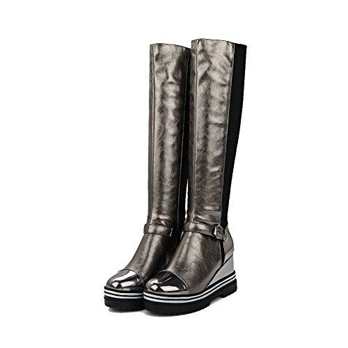 AgooLar Damen Ziehen auf Rund Zehe Hoher Absatz Flaum Futter Gemischte Farbe Stiefel, Silber, 39