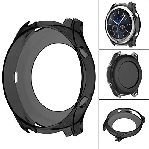 OUBAO Case Cover Thin Protect Shell Soft Ultra-Slim TPU Protect Youth Watch Screen Protector Full 360 Protection Gel Bumper for Sam Sung Gear S3 Classic (Black) by OUBAO (Image #1)