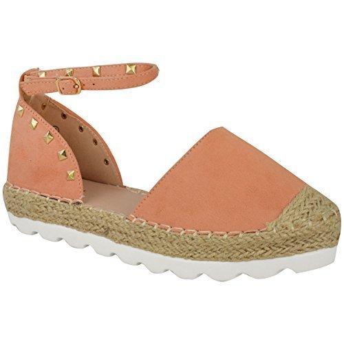 Mujer Alpargatas Tobillo Sandalias de Tiras Rock Tachuela Zapatos Verano Números Melocotón Ante Imitación /tachuelas dorado