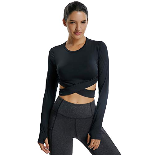 KIWI RATA Womens Yoga Tank Top Shirt Running Workouts Clothes Stretchy Round Neck Long Sleeve Crop Top Ventilation