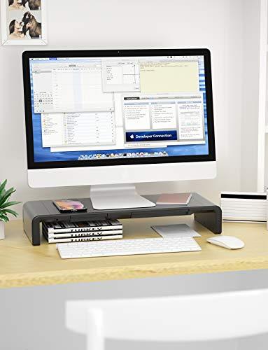 Monitor Stand Riser, Computer Laptop Riser Shelf with Organizer Drawer, Adjustable Length, Speaker TV PC Laptop Computer Screen Riser Desk Organizer, EURPMASK(Black) Photo #2