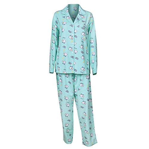 Women's Counting Sheep Flannel PJ Two-Piece Set - Shirt and Pants - Large