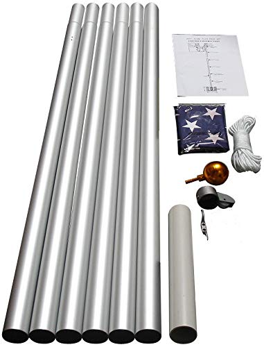 WINDSTRONG 25 FT Heavy Duty Residential Flag Pole Complete Set