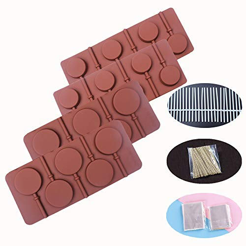 BAKER DEPOT Round Silicone Mold for Lollipop Hard Candy Chocolate Cake Decorating with 24pcs reuseable Sticks Two Sizes Set of 4