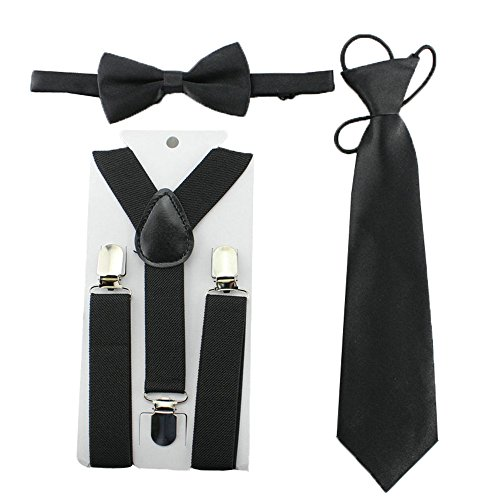 Kids Toddler Baby Boys Suspenders Bow Tie Necktie Set Child Bowtie Braces (Black)