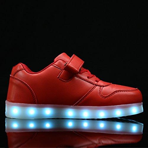 AFFINEST Kids Unisex niños USB Carga LED Luz Luminosas Flash Zapatos Zapatillas de Deporte Sneaker Rojo