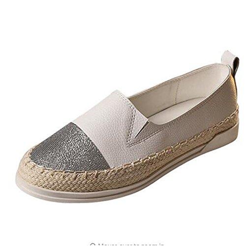 Womens Glitter Flat Espadrilles Moccasins Flatform Pumps Plus Size Deck Shoes Casual Sneakers White